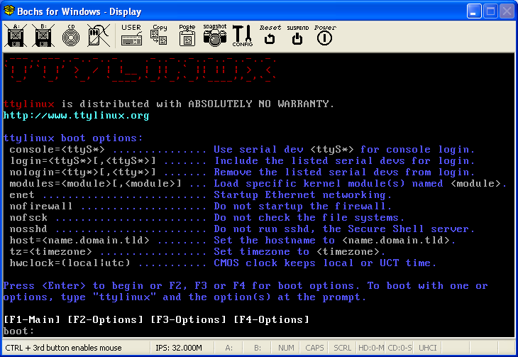 How to Set up TTYLinux under BOCHS