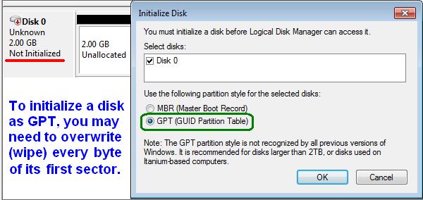 Как из mbr диска сделать gpt диск